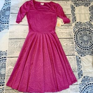 Lularoe NICOLE Dress Sz XS Pink Fuschia NWT